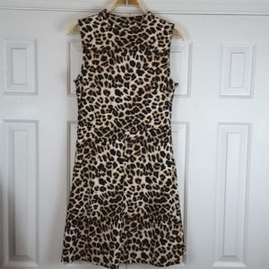 New York & Co Leopard Printed Fit & Flare Dress
